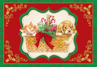 Kitten and Puppy in Basket (1 card/1 envelope) Designer Greetings Cat and Dog Christmas Card