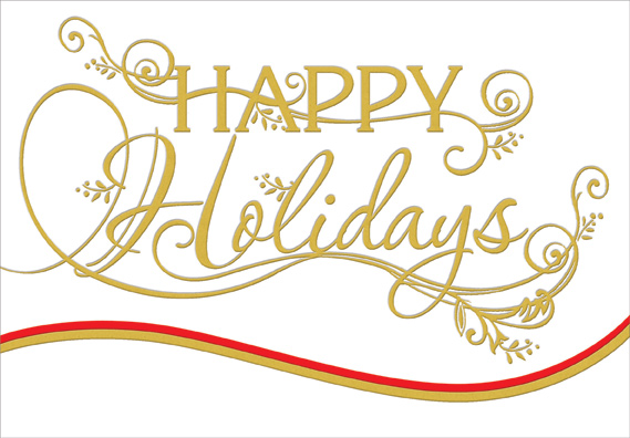 Gold Foil Happy Holidays Die Cut Christmas Card By