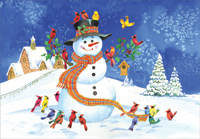 Snowman and Colorful Birds (1 card/1 envelope) Designer Greetings Christmas Card