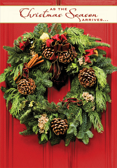 Wreath On Bright Red Door Box Of 18 Christmas Cards By Designer