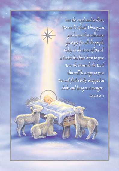 A Savior Has Been Born Religious Christmas Card By Designer