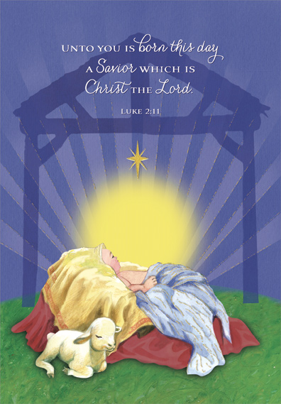 infant jesus and lamb religious christmas card by designer greetings