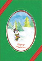 Snowman in Oval Frame (1 card/1 envelope) Designer Greetings Christmas Card