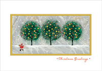 Santa and Three Trees (1 card/1 envelope) Designer Greetings Christmas Card