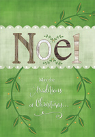 Earthtone Noel with Green Vines (18 cards/18 envelopes) Designer Greetings Boxed Christmas Cards