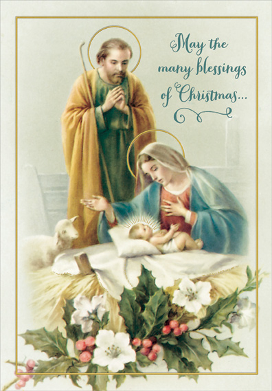 Joseph, Mary and Jesus Box of 18 Religious Christmas Cards ...
