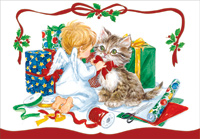 Small Angel and Kitten (1 card/1 envelope) Designer Greetings Christmas Card