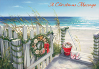 Shell Wreath on White Gate (1 card/1 envelope) Designer Greetings Warm Weather Christmas Card