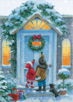 Children at Front Door (1 card/1 envelope) Designer Greetings Winter Christmas Card