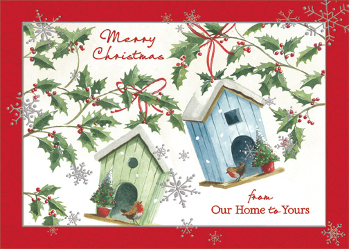 Merry Christmas From Our Home To Yours.Bird Houses Our Home To Yours Christmas Card By Designer