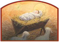 Infant Jesus in Bed of Straw Die Cut (1 card/1 envelope) Designer Greetings Religious Christmas Card