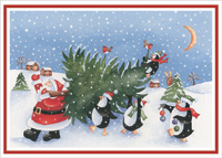 Santa and Penguins Carrying Tree (18 cards/18 envelopes) Designer Greetings Cute Boxed Christmas Cards