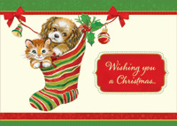 Kitten and Puppy in Stocking (18 cards/18 envelopes) Designer Greetings Cat and Dog Boxed Christmas Cards