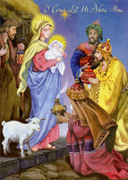 3 Kings: Come Let Us Adore Him Christmas Card