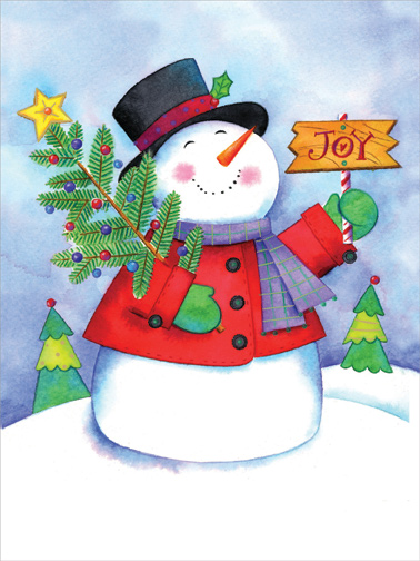 joyful snowman box of 18 cute christmas cards by designer greetings
