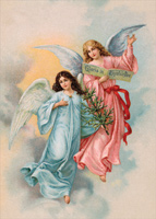 Two Angels in Clouds (1 card/1 envelope) Designer Greetings Religious Christmas Card