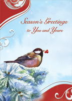 Bird on Pine Branch: Season's Greetings (1 card/1 envelope) Designer Greetings Christmas Card