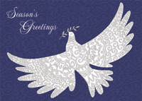 Embossed Dove on Embossed Swirls Christmas Card