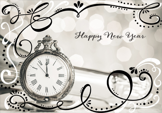 Pocket Watch with Sparkling Black and White Swirls New Year Card by ...