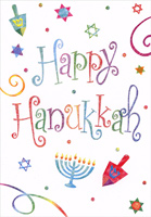 Colorful Happy Hanukkah Lettering (1 card/1 envelope) Designer Greetings Hanukkah Card