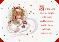 Angel Child with Harp Christmas Card