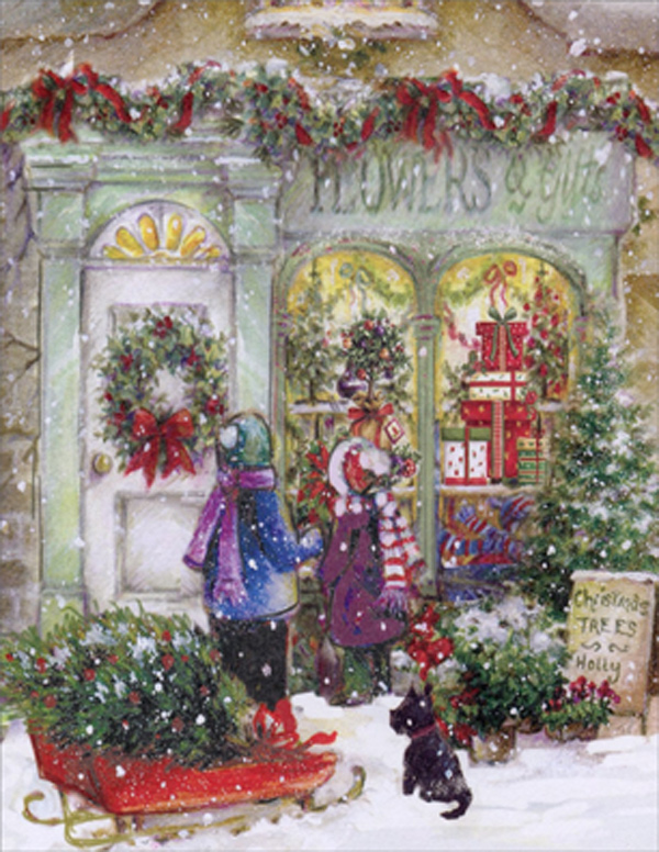 Children Window Shopping Box Of 18 Christmas Cards By Designer Greetings