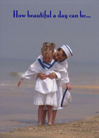 Boy and Girl Sailors (1 card/1 envelope) Freedom Greetings Love Card