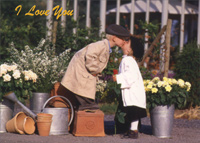 Little Boy and Girl Kiss By Flowers (1 card/1 envelope) - Love Card - FRONT: I love you  INSIDE: Wherever, Whenever, Always!