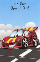 Red Racecar With Yellow Stripes (1 card/1 envelope) - Birthday Card