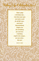 Today Life Celebrates You (1 card/1 envelope) - Birthday Card
