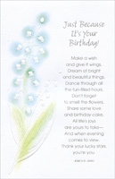 White Flowers With Blue Highlights (1 card/1 envelope) - Birthday Card