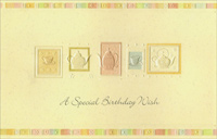 Embossed Tea Pots and Tea Cups (1 card/1 envelope) - Birthday Card