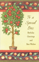 Orange Tree: Special Boss (1 card/1 envelope) Freedom Greetings Birthday Card
