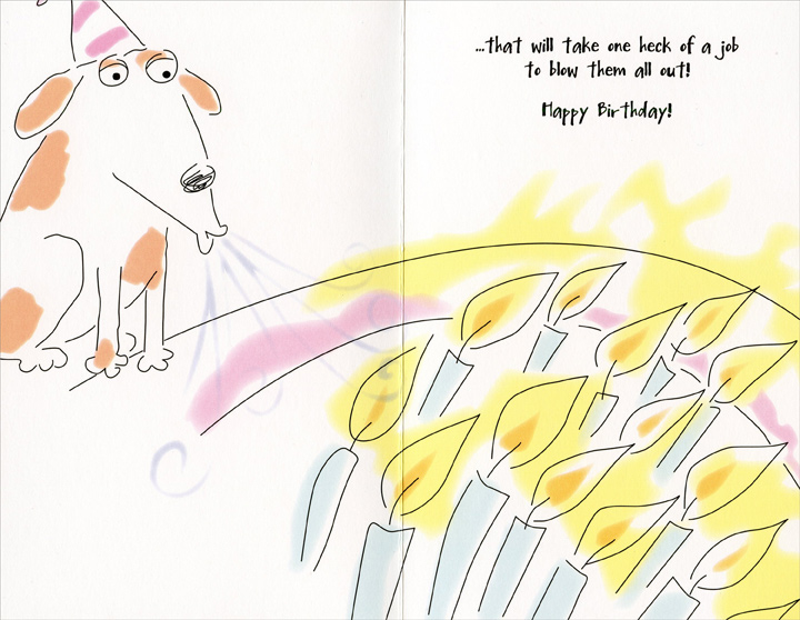 Dog With Birthday Hat and Cake (1 card/1 envelope) Freedom Greetings Birthday Card - FRONT: With all those candles on your cake�  INSIDE: �that will take one heck of a job to blow them all out! Happy Birthday!
