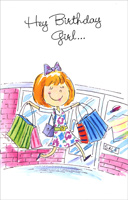 Birthday Girl With Shopping Bags (1 card/1 envelope) Freedom Greetings Birthday Card