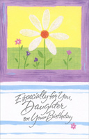 White Daisy In Purple Frame: Daughter (1 card/1 envelope) - Birthday Card