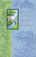 Tree and Stream on Blue and Green Vines: Grandson (1 card/1 envelope) Freedom Greetings Birthday Card