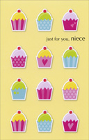 Cupcakes On Yellow: Niece (1 card/1 envelope) - Birthday Card