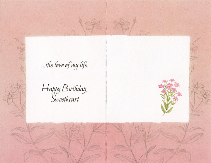 Pink Flowers On White: Sweetheart (1 card/1 envelope) Freedom Greetings Birthday Card - FRONT: You are the joy in my heart�  INSIDE: �the love of my life. Happy Birthday, Sweetheart