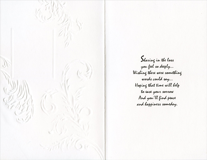 Embossed Vines on Green (1 card/1 envelope) Freedom Greetings Sympathy Card - FRONT: From All of Us in Your Time of Sorrow  INSIDE: Sharing in the loss you feel so deeply� Wishing there were something words could say� Hoping that time will help to ease your sorrow and you'll find peace and happiness someday.