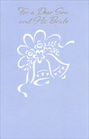 White Bells On Blue: Son & Bride (1 card/1 envelope) - Wedding Card