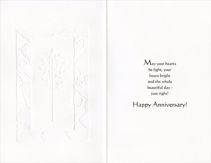 White Tree with Embossed White Border: Brother & Wife (1 card/1 envelope) Freedom Greetings Anniversary Card - FRONT: An Anniversary Wish for My Brother & His Wife  INSIDE: May your hearts be light, your hours bright and the whole beautiful day - just right! Happy Anniversary!