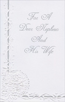 White Embossed Flower Bouquet: Nephew & Wife (1 card/1 envelope) - Anniversary Card