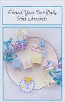 Baby Blocks, Pins and Ribbon (1 card/1 envelope) Freedom Greetings New Baby Card