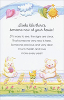 Bear and Bunny On Blanket: Someone New (1 card/1 envelope) - New Baby Card