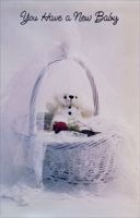 Bear and Red Rose In Basket (1 card/1 envelope) Freedom Greetings New Baby Card
