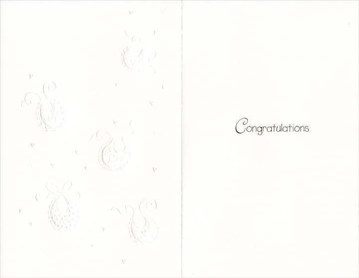 Bibs and Hearts On White (1 card/1 envelope) Freedom Greetings New Baby Card - FRONT: May your new baby fill your life with love and happiness  INSIDE: Congratulations