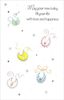 Bibs and Hearts On White (1 card/1 envelope) Freedom Greetings New Baby Card