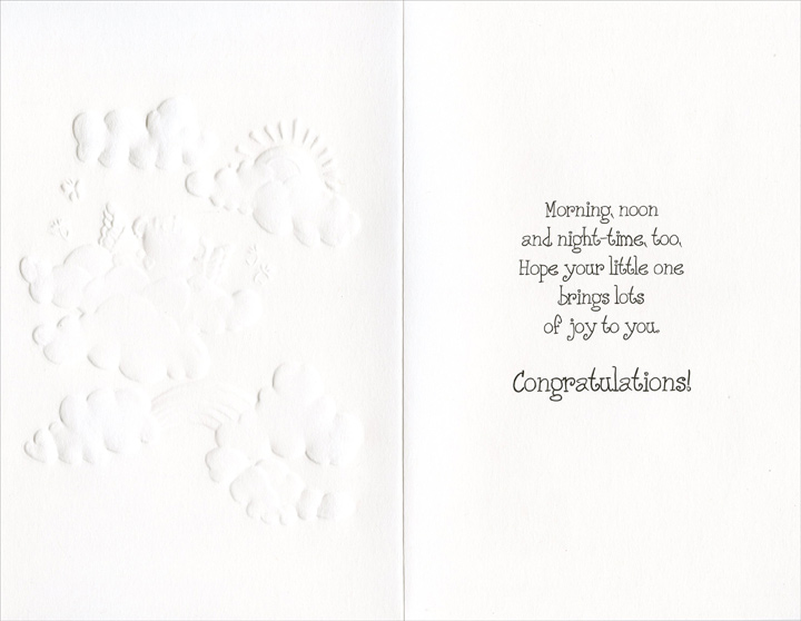 Bear With Wings In Clouds (1 card/1 envelope) Freedom Greetings New Baby Card - FRONT: Congratulations on Your New Baby  INSIDE: Morning, noon and night-time, too, Hope your little one brings lots of joy to you. Congratulations!