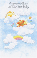 Bear With Wings In Clouds (1 card/1 envelope) - New Baby Card - FRONT: Congratulations on Your New Baby  INSIDE: Morning, noon and night-time, too, Hope your little one brings lots of joy to you. Congratulations!